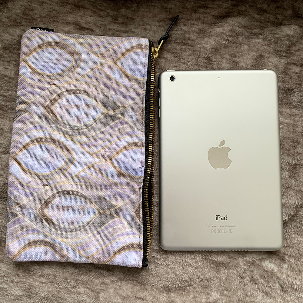 iPad mini size comparison with the Society6 Carry All Pouch in Medium