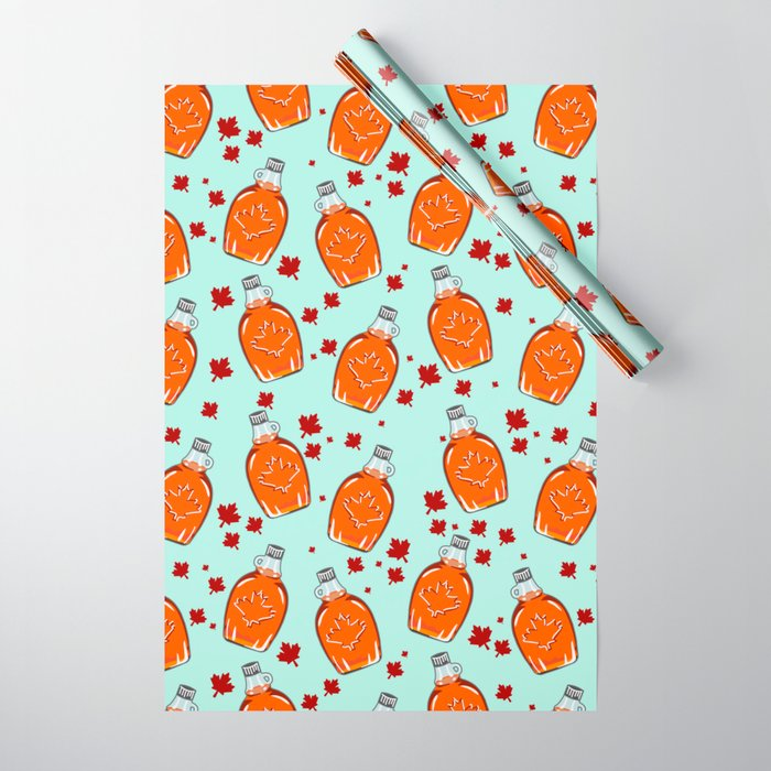Canadian Maple Syrup Pattern Wrapping Paper - Society6