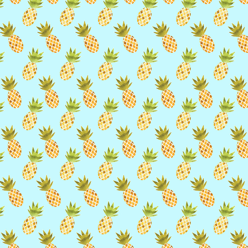 Blue Tropical Pineapple Pattern