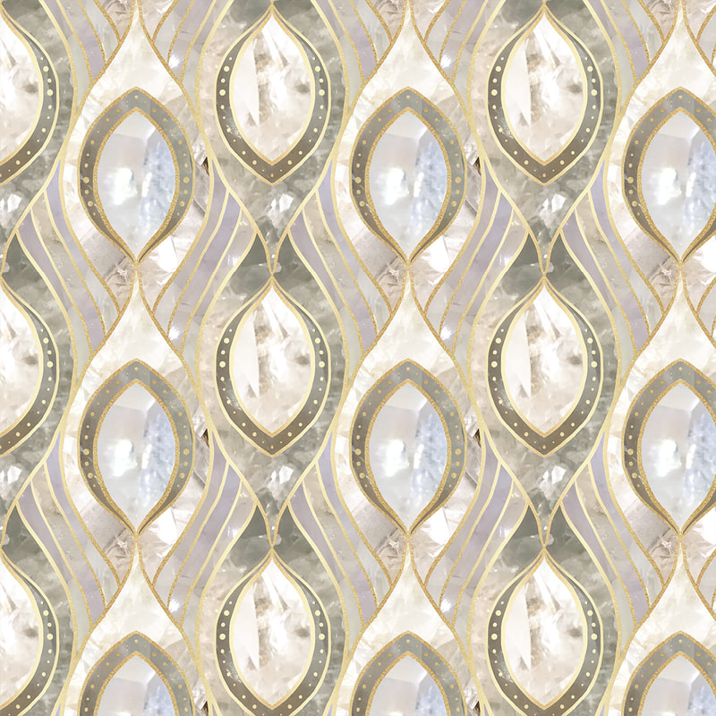 White Quartz & Gold Oval Tile Collage Pattern by TanyaDraws
