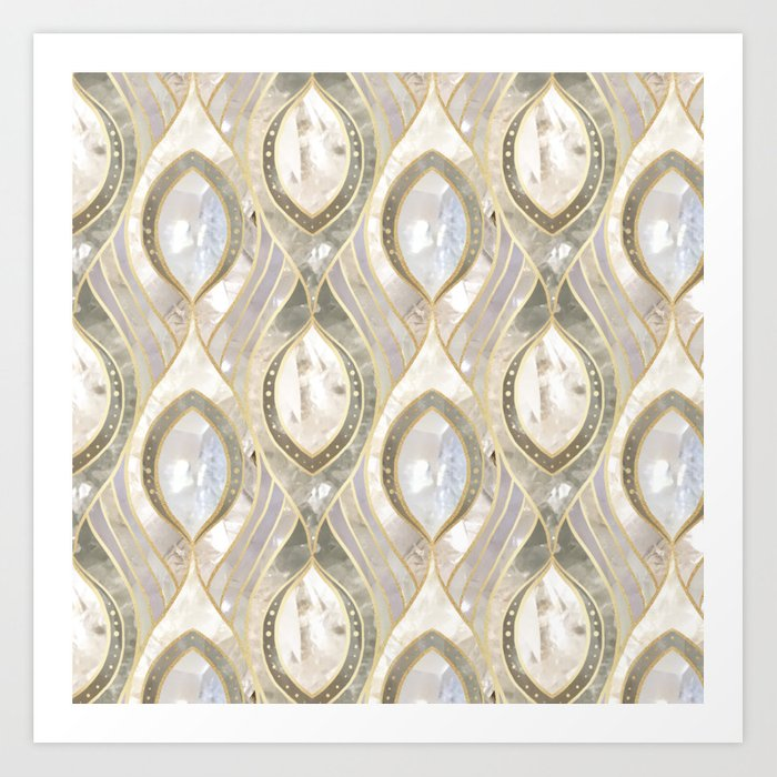 White Quartz & Gold Elegant Pattern Art Print
