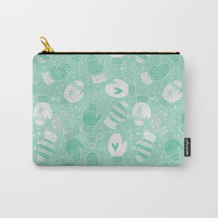 Winter Mittens Pattern in Mint Green Carry All Pouch @ Society6