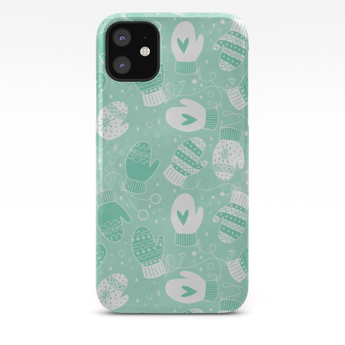 Winter Mittens Pattern in Mint Green iPhone 11 Case @ Society6