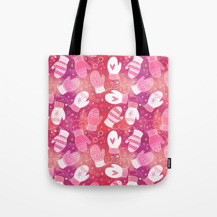 Winter Mittens in Pink Pattern Tote Bag @ Society6